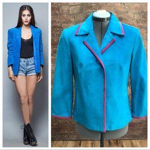 Vtg suede blue & pink blazer